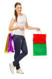 Young girl with bags Royalty Free Stock Image