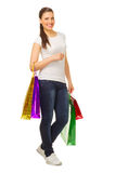 Young girl with bags Royalty Free Stock Photos