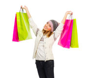Young girl with bags Royalty Free Stock Photography