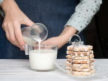 Young girl baked a fragrant biscuit Stock Photo