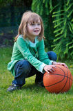 Young girl and ball Stock Images