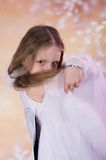 Young girl in ballet long white dress Royalty Free Stock Photos