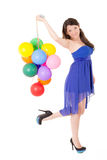 Young girl with balloons on a white background Stock Image