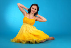 Young girl in ballroom dress stock image