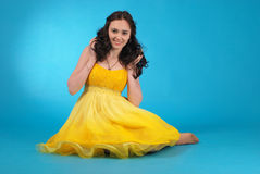 Young girl in ballroom dress Stock Photo