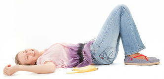 Young girl with banana Royalty Free Stock Images