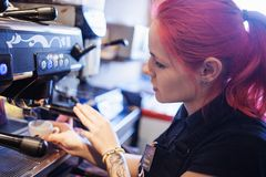 Young girl Barista prepares coffee in pub, bar Stock Photos