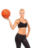 Young girl with basketball Royalty Free Stock Photo