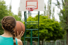 Young girl basketball player Stock Photos