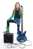 Young girl with bass Royalty Free Stock Photo