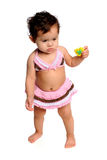 Young Girl With Bathing Suit. Hispanic young girl dressed in bathing suit standing Stock Images