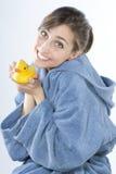 Young girl in bathrobe Stock Photos