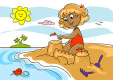 Young girl at the beach royalty free illustration