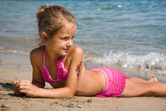 Young girl at the beach Stock Photo