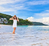 Young girl on beach Royalty Free Stock Images