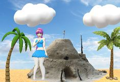 A young girl at a beach with a sandcastle illustration royalty free stock image