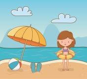 Young girl on the beach scene. Vector illustration design stock illustration
