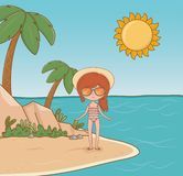 Young girl on the beach scene. Vector illustration design royalty free illustration