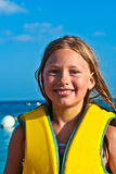 Young girl at the beach with wet Royalty Free Stock Image