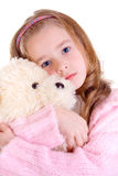 Young girl with bear. On white background Stock Photography