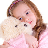 Young girl with bear. On white background Stock Photo