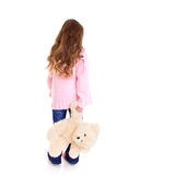 Young girl with bear. On white background Stock Photos