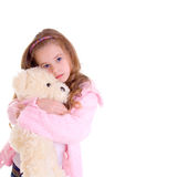 Young girl with bear. On white background Royalty Free Stock Photos