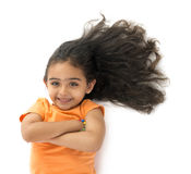 Young Girl with Beautiful Hair. Isolated on White Background Stock Photography