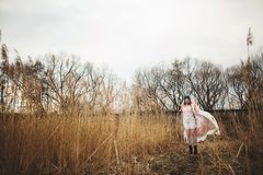 A young girl in a beautiful white dress and a stylish hat poses in a wheat field stock images