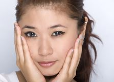 Young girl - beauty facial expression. Picture of cute young girl Stock Images