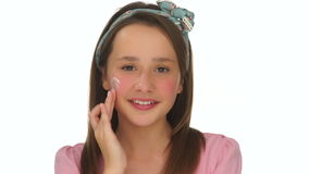 Young girl beauty and hygiene portrait stock video footage