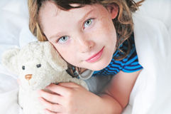 Young girl at bedtime Stock Photo