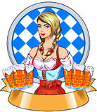Young girl with beer. Oktoberfest beer festival. Color illustration Royalty Free Stock Image