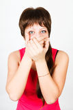Young girl being gagged Royalty Free Stock Photos