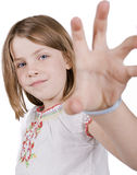Young girl being a tiger Stock Photo