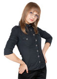 Young girl bespectacled and black cloth Royalty Free Stock Photo