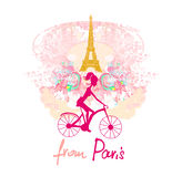 Young girl with bicycle in Paris Royalty Free Stock Photos