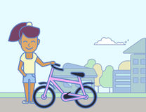 Young girl with bicycle Stock Photos