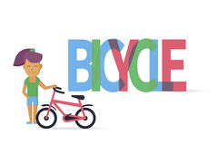 Young girl with bicycle Royalty Free Stock Image
