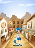 A young girl with a bicycle standing in the middle of the saloon royalty free illustration