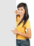 Young girl with big card Stock Images