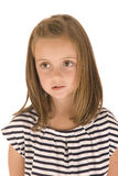 Young girl with big eyes biting her lip. Looking away Stock Photography