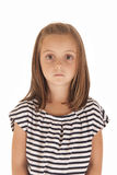 Young girl with big eyes stoic expression Stock Photo