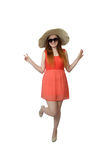 Young girl in big hat in sunglasses posing Royalty Free Stock Image