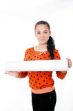 Young girl with a big  paper Stock Image