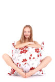 Young girl with big pillow Royalty Free Stock Photo