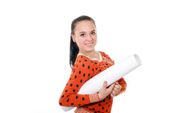 Young girl with a big roll of paper Royalty Free Stock Photo