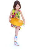 Young girl with big round box. Royalty Free Stock Image