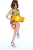 Young girl with big round box. Royalty Free Stock Images
