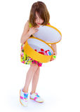 Young girl with big round box. Royalty Free Stock Photo